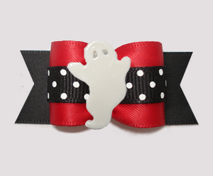 "#A7426 - 7/8"" Dog Bow - Boo-tiful Ghost, Red/Midnight Black"