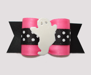 "#A7427 - 7/8"" Dog Bow - Boo-tiful Ghost, Pink/Midnight Black"
