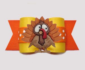 "#A7431- 7/8"" Dog Bow - Thanksgiving Turkey, Autumn Yellow/Orange"