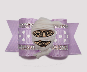 "#A7433 - 7/8"" Dog Bow - Pretty Mummy, Lavender/Silver"