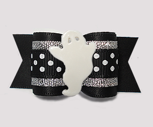 "#A7434 - 7/8"" Dog Bow - Friendly Ghost, Black w/Sparkle 'n Dots"