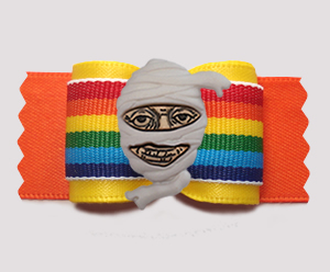 "#A7436 - 7/8"" Dog Bow - Happy Mummy, Bright Rainbow Stripes"