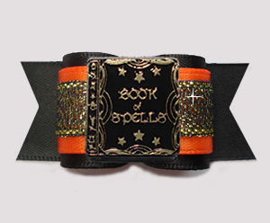 "#A7439 - 7/8"" Dog Bow - Book of Spells, Orange/Midnight Shimmer"