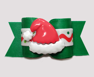 "#A7442 - 7/8"" Dog Bow- Ho-Ho-Ho! Happy Holidays Santa Hat, Green"