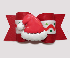 "#A7443 - 7/8"" Dog Bow- Ho-Ho-Ho! Happy Holidays Santa Hat, Red"