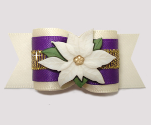 "#A7444 - 7/8"" Dog Bow - Gorgeous Ivory/Purple/Gold, Poinsettia"