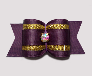 "#A7445 - 7/8"" Dog Bow - Gorgeous Amethyst w/Gold, Rhinestone"