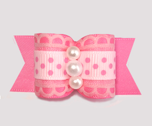 "#A7453- 7/8"" Dog Bow - Sugar 'n Spice, Perfect Pink Lace & Dots"