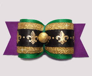 "#A7465 - 7/8"" Dog Bow - Gorgeous Purple/Green/Gold Fleur de Lis"