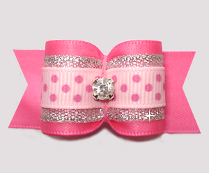 "#A7467 - 7/8"" Dog Bow - Pink/Silver with Sparkle & Sprinkle Dots"