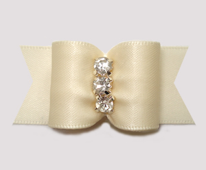"#A7474 - 7/8"" Dog Bow - Rich Cream Satin, Rhinestones"