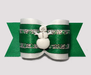 "#A7479 - 7/8"" Dog Bow - Let It Snow! Green/Silver w/Snowman"