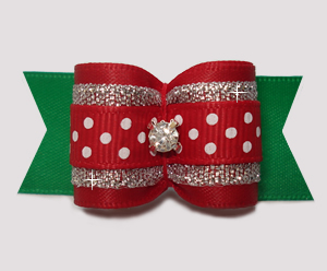 "#A7481 - 7/8"" Dog Bow- Red/Silver/Green, Sparkle & Sprinkle Dots"