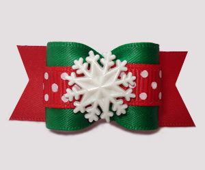 "#A7483 - 7/8"" Dog Bow - Winter Green/Red, Sprinkle of Snow"