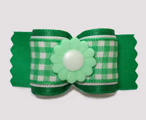 "#A7485 - 7/8"" Dog Bow - Pretty Spring Daisy, Green/White Gingham"