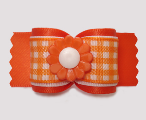 "#A7486- 7/8"" Dog Bow - Pretty Spring Daisy, Orange/White Gingham"