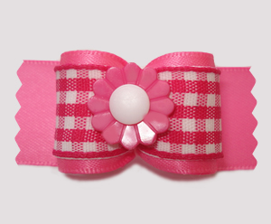 "#A7487 - 7/8"" Dog Bow - Pretty Spring Daisy, Pink/White Gingham"