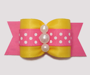 "#A7492 - 7/8"" Dog Bow - Spring Dots, Sunny Yellow/Pink"