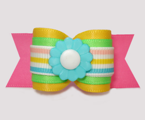 "#A7494 - 7/8"" Dog Bow - Multi-Color, Fun Spring Stripes 'n Daisy"