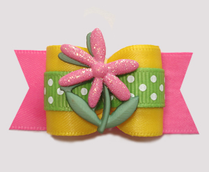 "#A7496 - 7/8"" Dog Bow - Bloomin' Pretty! Sparkly Pink Flower"