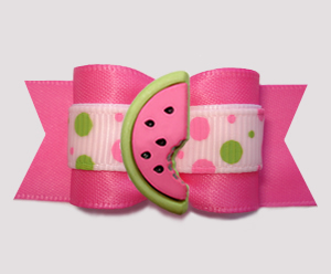 "#A7504 - 7/8"" Dog Bow - Pink/Lime Bubble Dots, Sweet Watermelon"