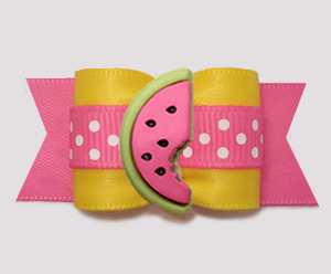 "#A7505 - 7/8"" Dog Bow - Sweet Watermelon, Pink/Sunny Yellow"