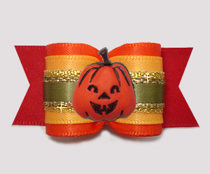 "#A7507 - 7/8"" Dog Bow - Autumn Glory Pumpkin, Red/Orange/Yellow"