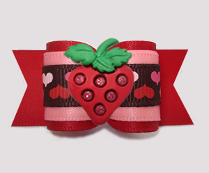 "#A7509 - 7/8"" Dog Bow - Love and Sweetness, Hearts w/Strawberry"