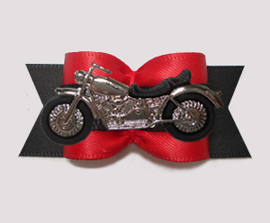 "#A7510 - 7/8"" Dog Bow - Vroom! Cool Motorcycle, Red/Black"
