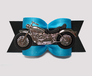 "#A7511 - 7/8"" Dog Bow - Vroom! Cool Motorcycle, Blue/Black"