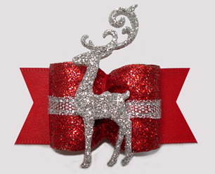 "#A7513 - 7/8"" Dog Bow - Gorgeous Red Glitter, Sparkly Reindeer"