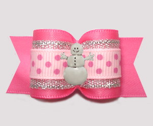"#A7518 - 7/8"" Dog Bow - Pink/Silver w/Sparkle, Happy Snowman"