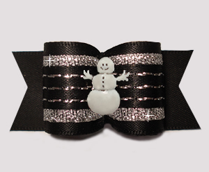 "#A7519 - 7/8"" Dog Bow - Gorgeous Classic Black Sparkle w/Snowman"