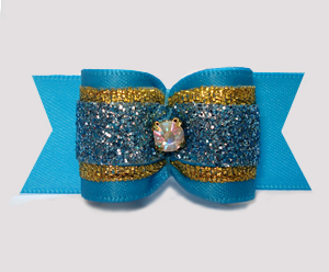 "#A7521- 7/8"" Dog Bow - Beautiful Blue Glitter w/Gold, Rhinestone"