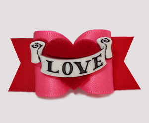 "#A7522 - 7/8"" Dog Bow - Valentine Pink/Red, Heart w/Love Banner"