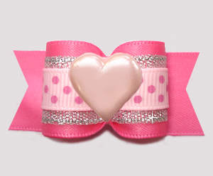 "#A7526- 7/8"" Dog Bow - Sweetheart Pink/Silver w/Dots, Pink Heart"