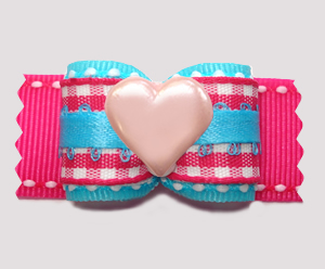 "#A7528 - 7/8"" Dog Bow - Sweet Candy Floss Blue/Pink w/Pink Heart"