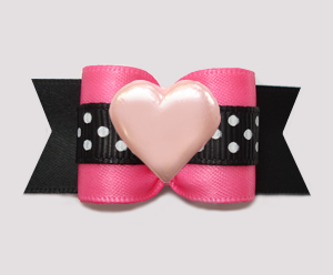 "#A7529- 7/8"" Dog Bow- Lovely Pink/Black Satin w/Dots, Pink Heart"