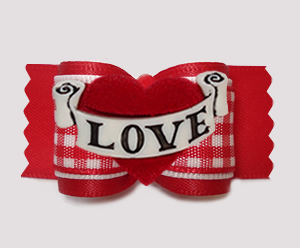 "#A7530 - 7/8"" Dog Bow - Sweet Red Gingham, Heart w/Love Banner"