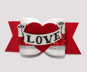 "#A7531 - 7/8"" Dog Bow - Gorgeous White/Silver/Red Glitter, LOVE"
