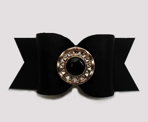 "#A7534 - 7/8"" Dog Bow - Chic & Classic Black Satin with Flair"