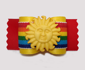 "#A7535 - 7/8"" Dog Bow - Bright Summer Sun, Rainbow Stripes/Red"