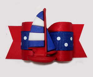"#A7536 - 7/8"" Dog Bow - Nautical Dots, Red/White/Blue Sailboat"