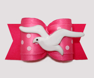 "#A7539 - 7/8"" Dog Bow - Beachy Keen, Soaring Seagull on Pink"