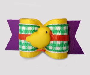 "#A7540 - 7/8"" Dog Bow - Sweet Spring Picnic, Easter Chick"