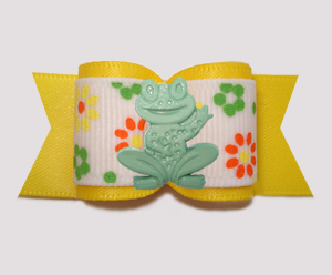 "#A7542 - 7/8"" Dog Bow - Pretty Flower Garden, Yellow, Happy Frog"