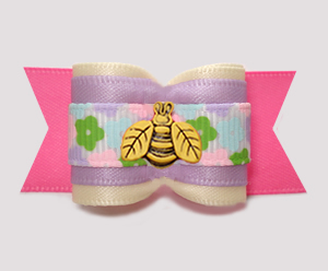 "#A7543 - 7/8"" Dog Bow - Sweet Spring Bee, Cream/Lavender/Pink"