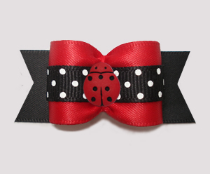 "#A7544 - 7/8"" Dog Bow - Lovely Little Ladybug, Red/Black"