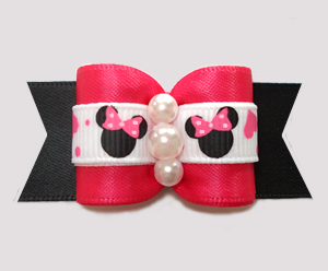 "#A7546 - 7/8"" Dog Bow - Minnie Mouse Cutie, Hot Pink/Black"