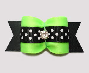 "#A7547 - 7/8"" Dog Bow - Lively Lime/Black w/Dots, Rhinestone"
